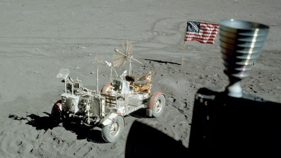 """Apollo 17's lunar rover, flag and part of the lunar module in this view taken out the module's window. (Credit: NASA) Ian Ridpath, """"Exploring the Apollo Landing Sites"""" http://www.bellaonline.com/articles/art29536.asp"""
