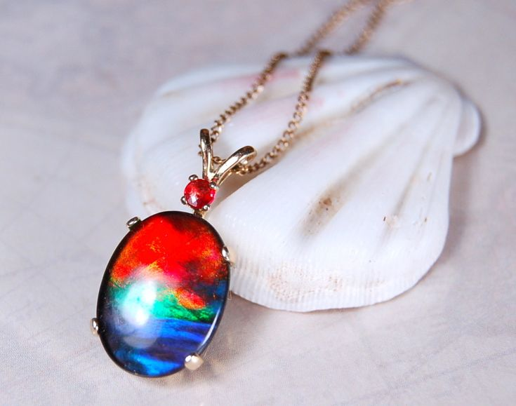 Ammolite Jewelry From Canada - Rainbow Ammolite Pendant in Gold with Royal Red Sapphire., USD499.00 (http://ammolitejewelryfromcanada.com/rainbow-ammolite-pendant-in-gold-with-royal-red-sapphire/)