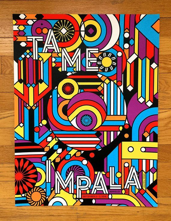 Tame Impala Berkeley Official Silkscreened Limited Edition poster CA 2