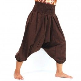 3/5 Aladinhose Shalwarhose aus Baumwolle Braun