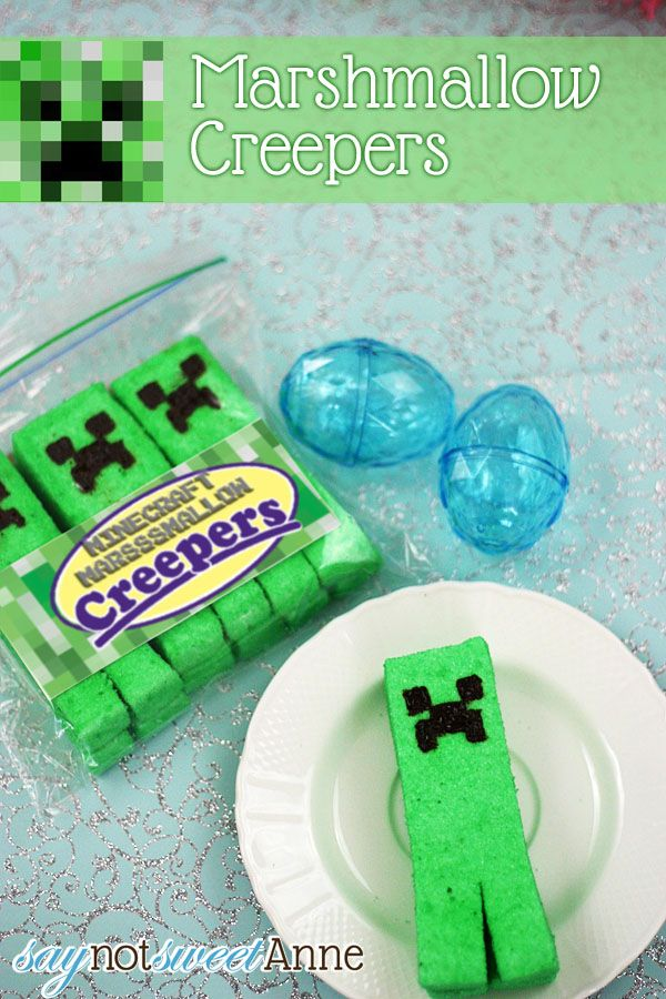 MARSHMALLOW CREEPERS [FREE PRINTABLE] [RECIPE]: Minecraft Parties, Birthday Parties, Homemade Marshmallows, Teen Boys, Parties Ideas, Diy Creepers, Creepers Marshmallows, Marshmallows Creepers, Boys Who