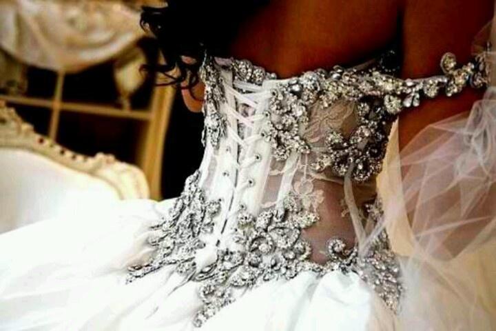 Crystal corset wedding dress with organza skirt