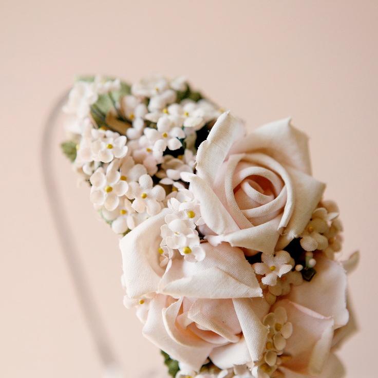 pink rose flower crown 'BOTANICA' bridal head piece, via Whichgoose on Etsy.