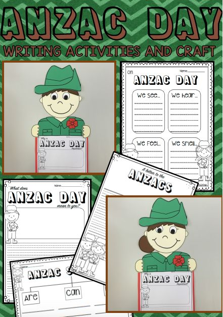 ANZAC day soldier writing and craft activities