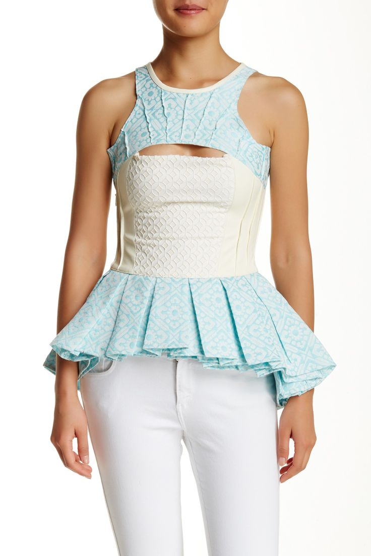 Jacquard Faux Leather Peplum Top by Nuvula on @HauteLook