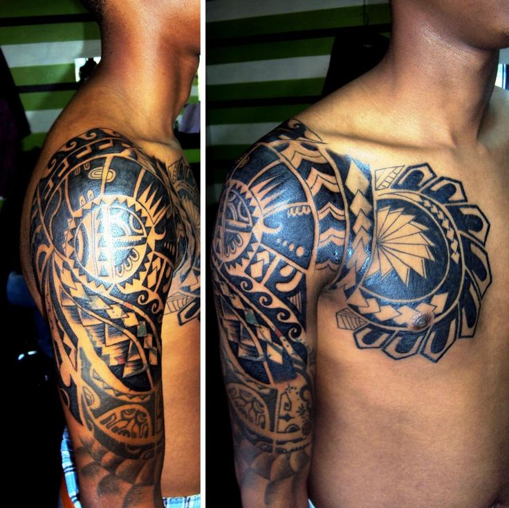 Maori Tribal Tattoos Powerful: Maori Chest And Half A Sleeve Tribal Tattoo. :)