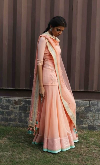 peach sharara, elbow length sleeve, peach and mint sharara, mehendi outfit, friend of the bride outfit
