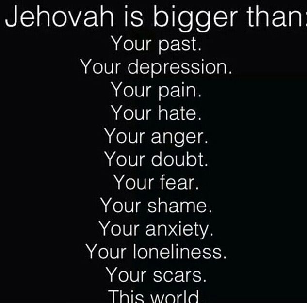 "Psalms 55:22 Throw your burden on Jehovah, And he will sustain you. Never will he allow the righteous one to fall. Yes Jehovah is only a ""prayer"" away!!!!!"