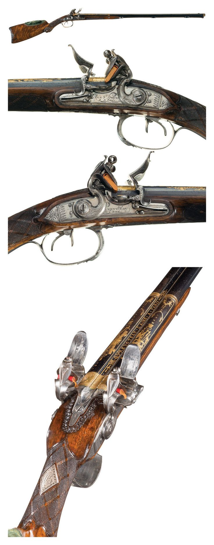 A gold inlaid French double barrel flintlock shotgun produced by Revoteau L'aine A Paris, circa 1800.