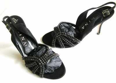 Gina designer strappy shoes black suede black diamontes Paradise size 7.5