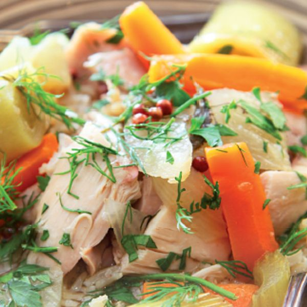 My Mother's Praised Chicken Stew from Nigella Lawson's Nigella Kitchen cookbook. This delicious chicken stew recipe inspired by Nigella's mother is great for using up leftover roast chicken and is delicious served with fresh dill and English mustard.