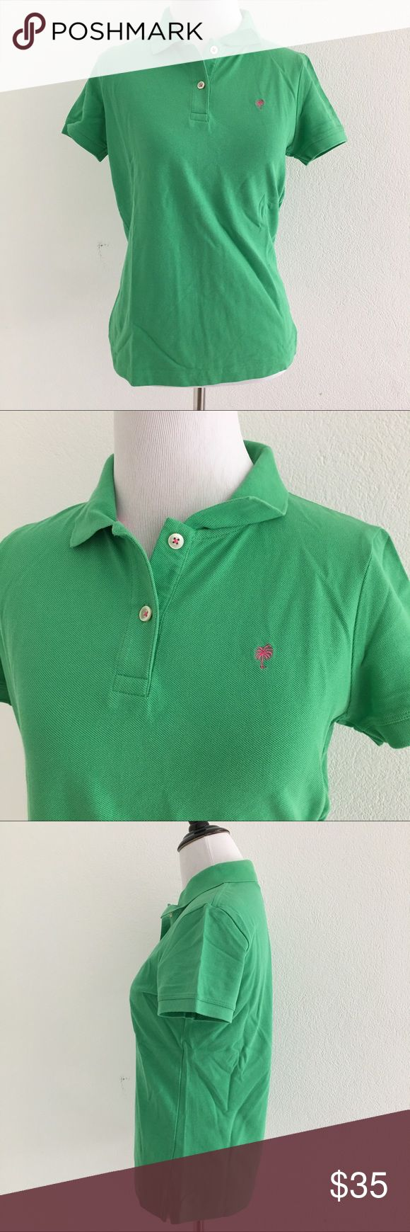 """Lilly Pulitzer Green Polo Shirt Size M Preowned authentic Lilly Pulitzer Green Polo Shirt Size M. Armpit to armpit is 17.5"""" inches. Collar to hem is 22"""" inches shoulder to cuff is 6"""" inches. Please look at pictures for better reference. Happy shopping! Lilly Pulitzer Tops"""