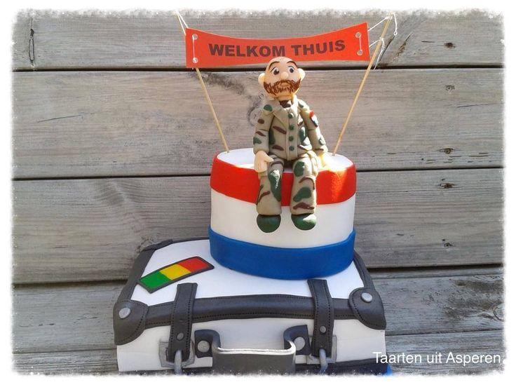 Een welkom thuis taart voor een militair die naar Mali is geweest.