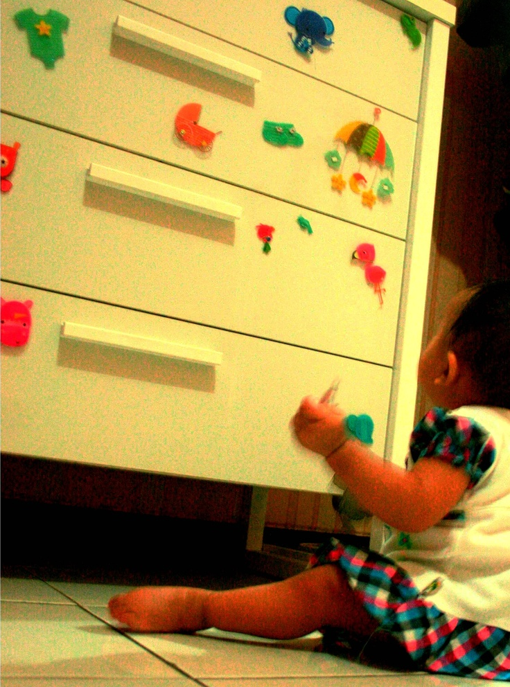 Aimee put stickers on the shelf