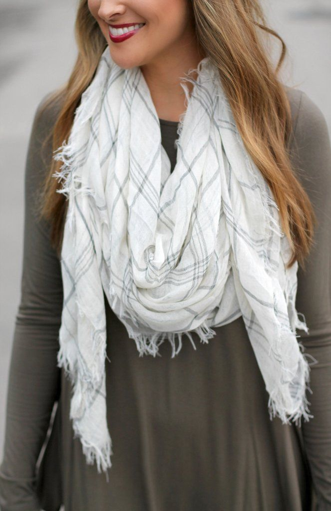 Plaid Scarf (White)