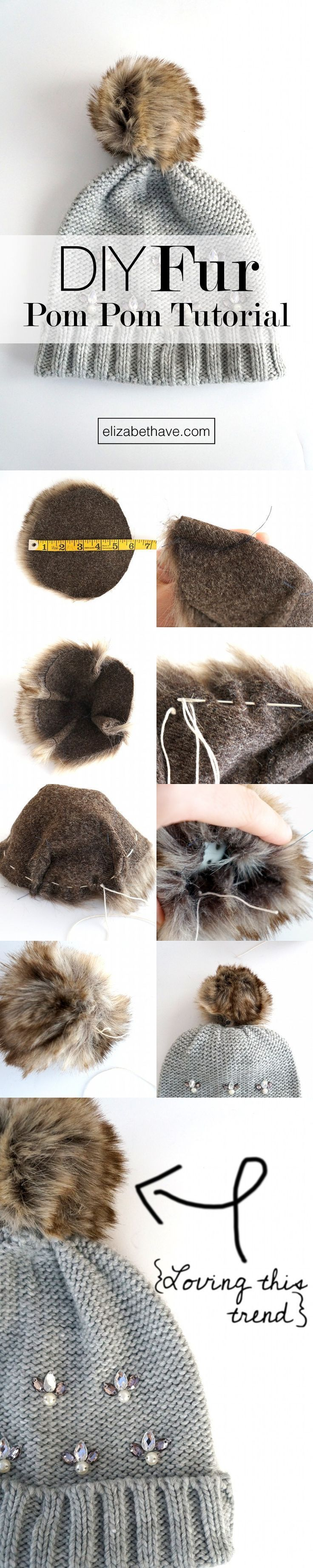 DIY Fur Pom Pom Tutorial   These pom poms are everywhere right now. If you have some scraps of faux fur laying around, this is the perfect sewing tutorial to use it up! Once you've made the fur pom pom, sew it on whatever you like!