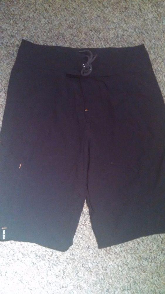 Pearl Izumi Ladies Nylon Hiking Workout Shorts Size M Black Drawstring Waist #PearlIzumi #Shorts