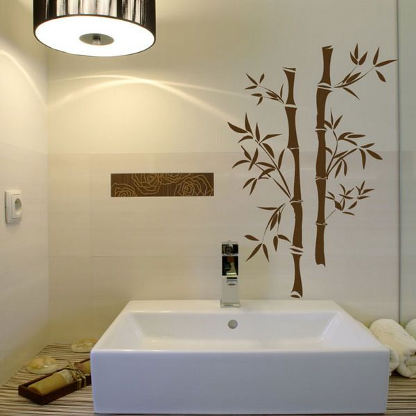 Fresh Bathroom Bamboo Wall Murals Design Ideas