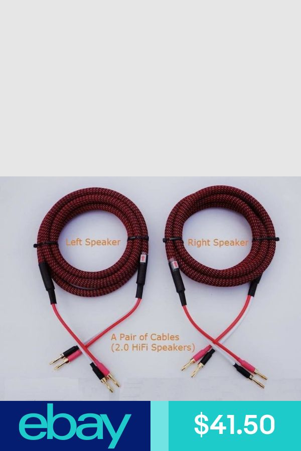 Pair HIFI Audiophile Banana Speaker Cables 4x12awg Home Audio S03 -- 2m 6.5ft