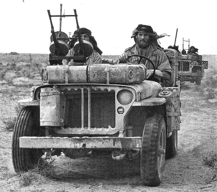 Two Willys Jeeps from Long Range Desert Group patrolling the lands of Egypt.  1942-43
