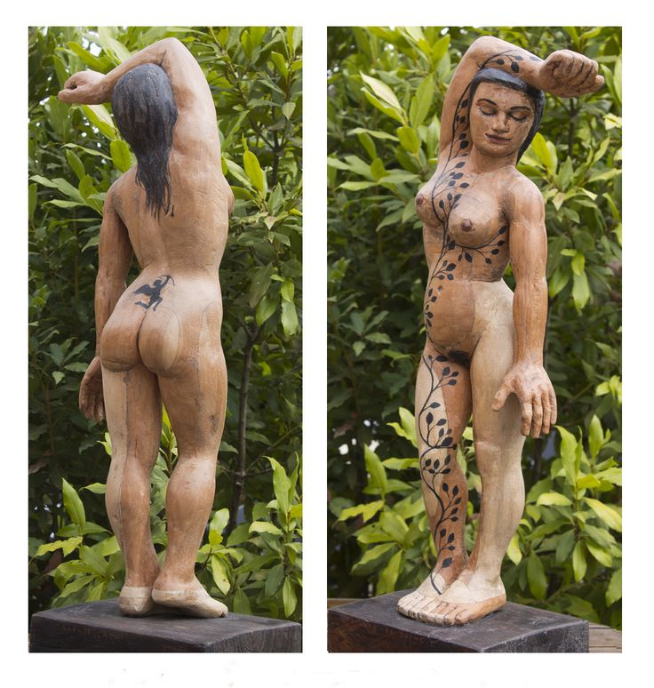 TATUAJE DE DAFNE. 70 x 23 x 17 cm. Madera de cedro y tinta china. 6.000 €.
