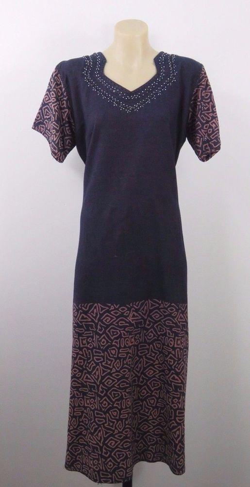 Size XL 16 Ladies Kaftan Dress Tunic Casual Boho Chic Gypsy Tribal Resort Design #Unbranded #Kaftan #Casual