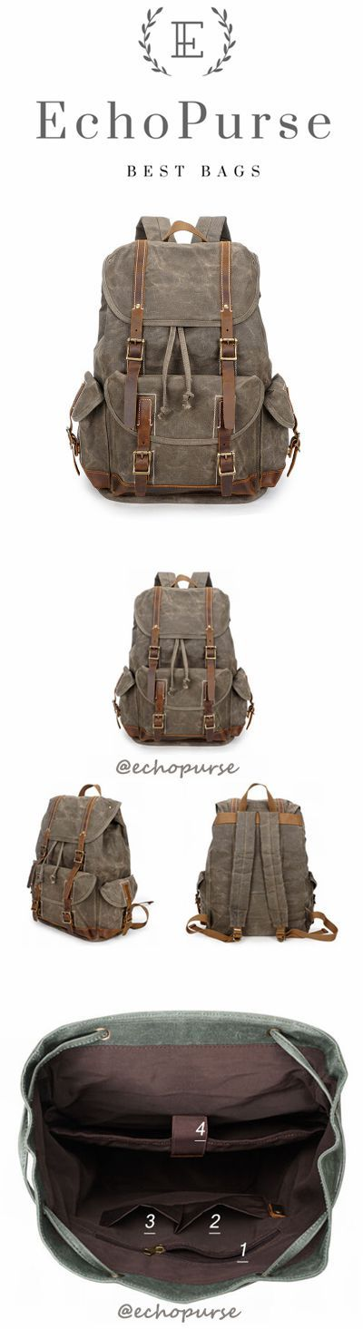 Oil Waxed Canvas Backpack, Vintage Waterproof Sports Backpack, Army Green Travel Backpack YD256