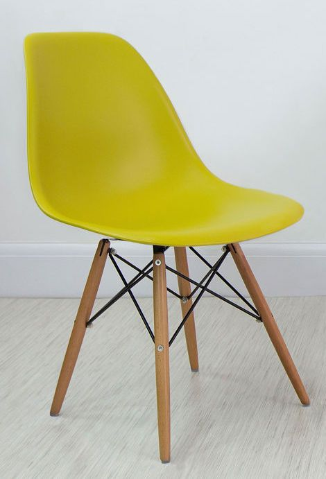 Mustard Yellow Eames Style Dining Chair from Danetti - £49 - also in teal, light grey, rust - see period living may p64