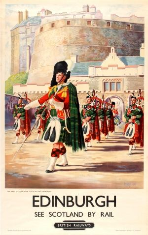 Edinburgh Scotland British Railways, 1951 - original vintage poster listed on AntikBar.co.uk #StAndrewsDay