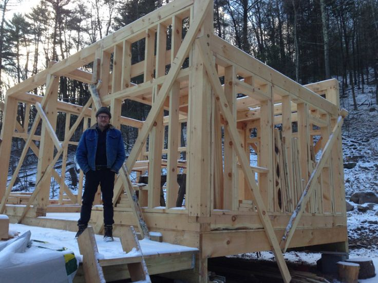 11.Jan. 19, NY:  Adam Tudhope, manager to Wolf Gang, Keane, Laura Marling & Mumford and Sons takes a moment to pose in front of the cabin he's building