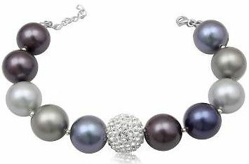Sterling Silver Swarovski Crystal Clear Ball and MultiColoured Pearls Bracelet