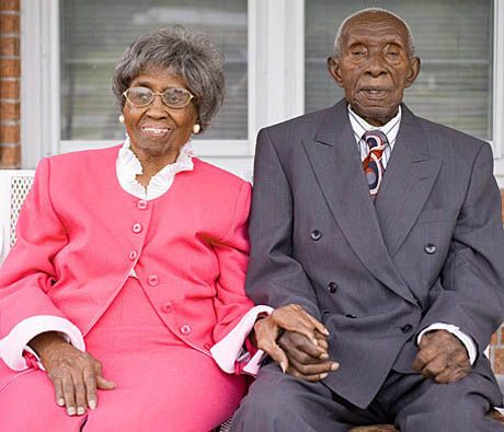 Oldest Living Couple (104 and 101) Herbert and Zelmyra Fisher still lovingly hold hands after 86 years together!  Wow.  They tweeted marriage advice!!