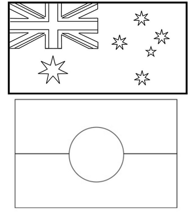 Australia Day: Fun with kids - Simply Sweet Soirees blog - Australian flags colouring from Kidspot