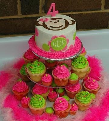 Monkey cake with cupcakes.  Make with pastels for babyshower.: Cakes Ideas, Dot Cakes, Monkey Cakes, Smash Cakes, Cakes Cupcakes, Parties Ideas, Minis Cupcakes, Birthday Ideas, Birthday Cakes