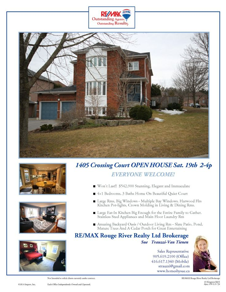 Open House this Saturday 19th 2-4pm 1405 Crossing Court Pickering
