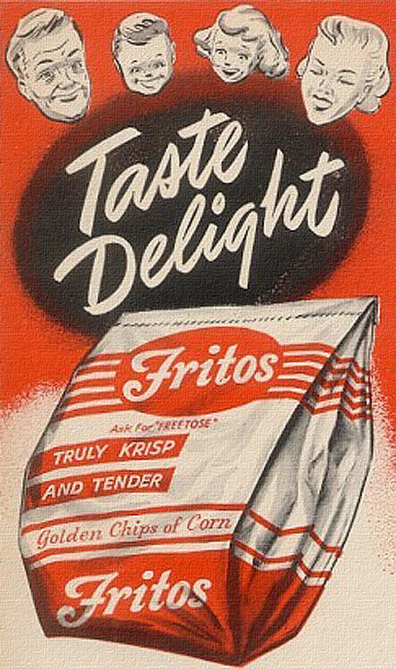 Fritos - they're a taste delight! #vintage #1950s #food #chips #ads