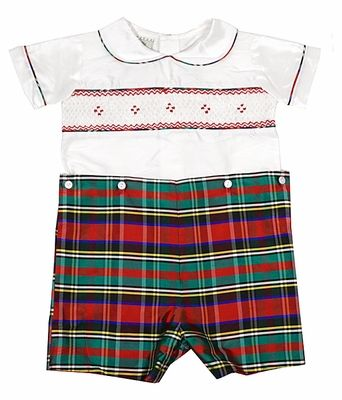 Le Za Me Baby / Toddler Boys Smocked Christmas Red / Green Plaid Silk Button