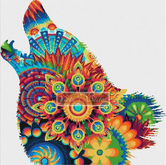Mandala cross stitch kit  Mandala wolf modern kaleidoscope