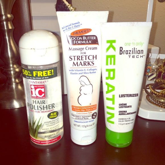 Palmers stretchmark cream,keratin hair,&polisher The palmers stretch mark cream has barely been used! Hair polisher used once still full, and the Brazilian keratin hair product has been used 50% but works amazing! Accessories