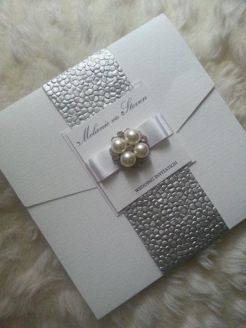 Pocketfold Wedding Invitation suite Silver by StylishStationery