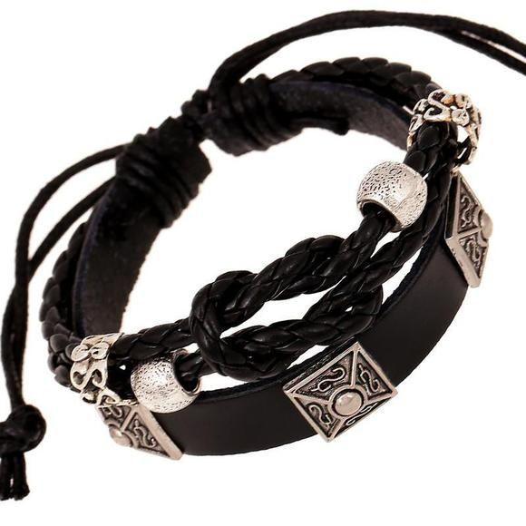 Handmade Retro Tattoo Geometric Studded Black Leather Bracelet - Ring to Perfection