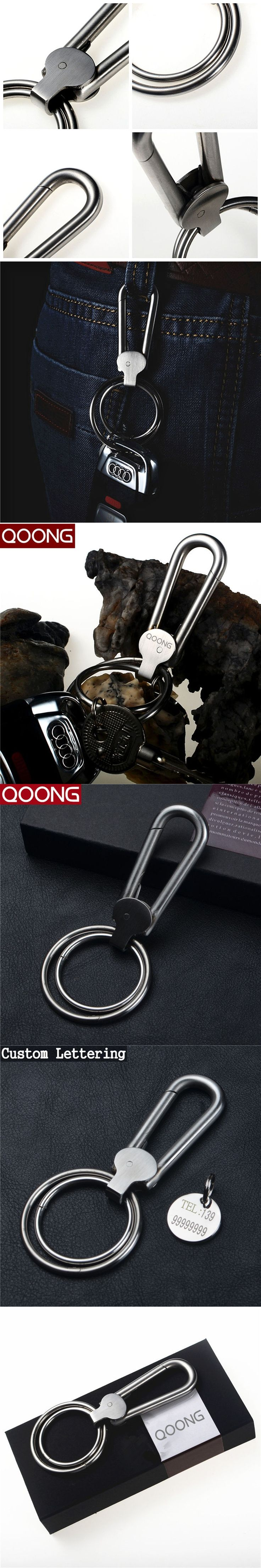 QOONG 2016 Business Handmade Keychain High-grade 304 Stainless Steel Men Key  Chain Metal Male