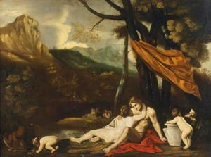 Landscape with an erotic scene  Pietro Testa
