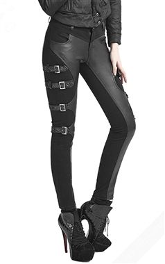 Punk Rave Leather and Heavy Cotton Osiris Trousers
