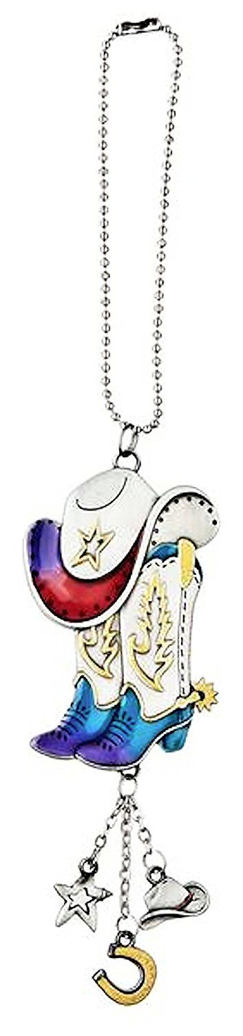 """Amazon.com: Cool & Custom {7"""" Chain Hang} Single Unit of Rear View Mirror Hanging Ornament Decoration Made of Zinc Alloy w/ Reflective Colorful Cowboy Hat and Boots Design [Dodge Silver, Red & Blue Colored]: Automotive"""