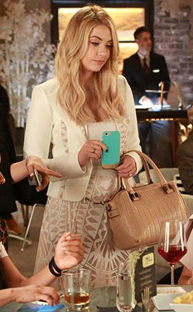 Hanna's white jacket and skirt with cutouts on Pretty Little Liars.  Outfit Details: https://wornontv.net/55382/ #PLL