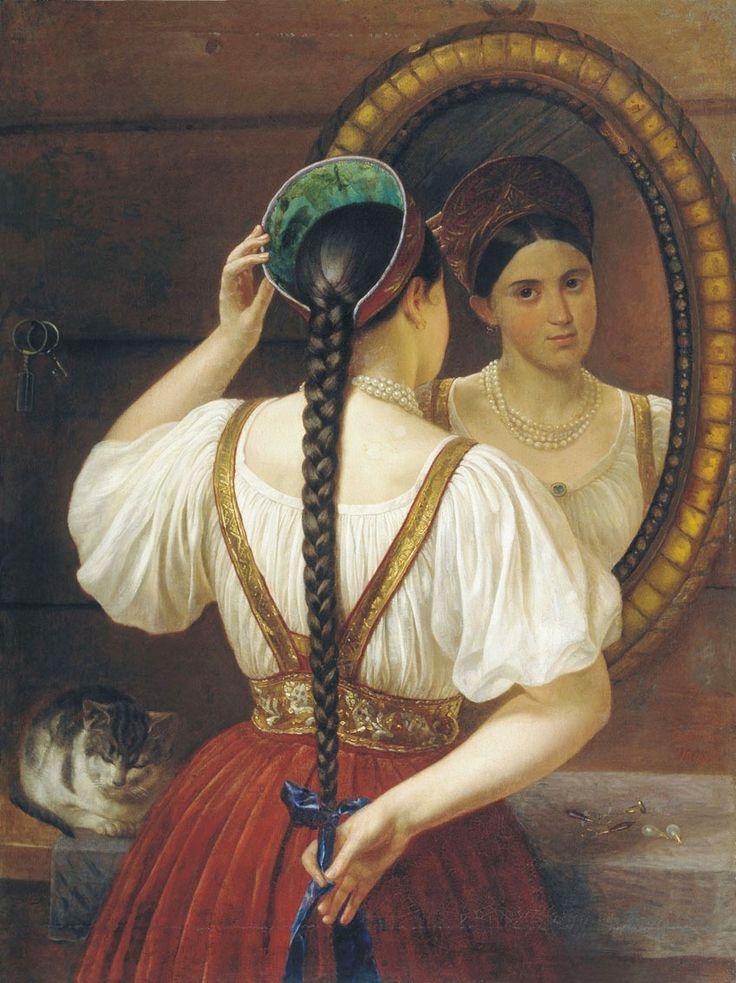 Филипп Осипович Будкин. Девушка перед зеркалом. 1848.