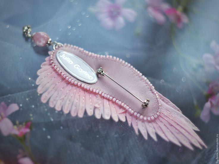 """Купить Брошь крыло """"романтика"""" - spring collection 2016 - вышивка, авторская работа, юлия горина"""