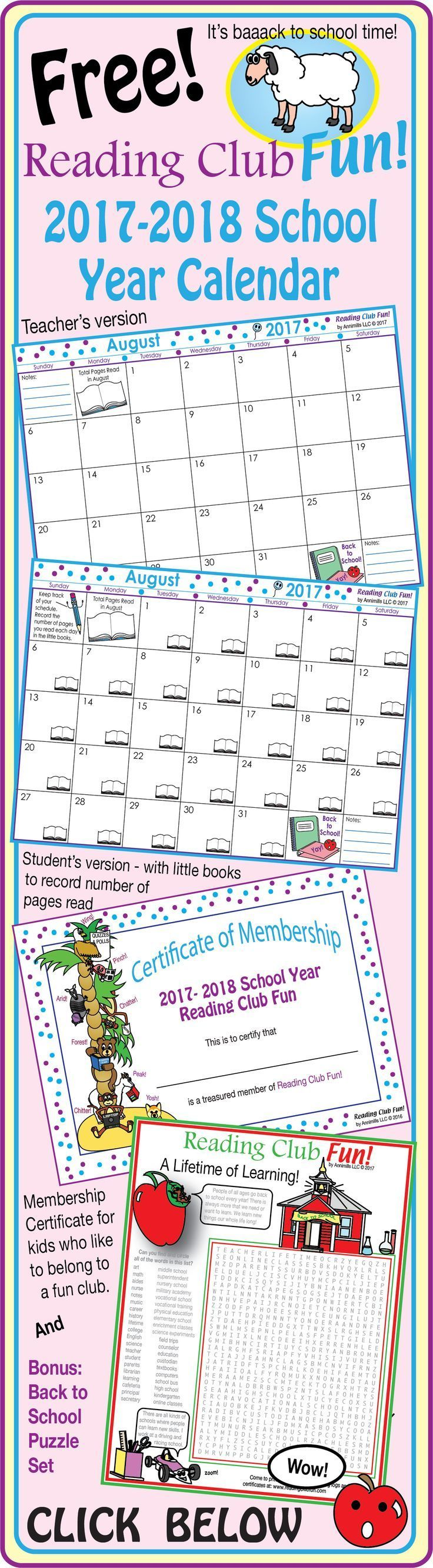 FREE - 2017-2018 Mega Bundle SCHOOL YEAR CALENDAR (Back to School) - Enjoy 38 pages of back-to-school goodness! Includes: Reading Club Fun Membership Certificate; 2017-2018 School Year Calendar - Teacher Edition; 2017-2018 School Year Calendar - Student Edition; puzzle set.