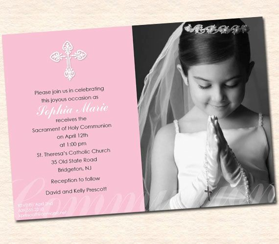 Girl's First Communion Invitations, Communion Invitations, First Holy Communion Invitations, Communion invitations for Girls